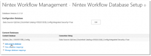 CA - ZA - Nintex Workflow Management - Database setup - Add content database - Link - SharePoint 2013