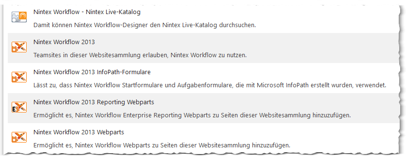 CA - ZA - Nintex Workflow - Websitesammlungsfeatures - Site collection features - SharePoint 2013