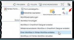 Dokumentenbibliothek - Reiter BIBLIOTHEK - Workfloweinstellungen PopUp Button - Einen Workflow in Nintex Workflow erstellen - Menü - Ribbon - SharePoint 2013