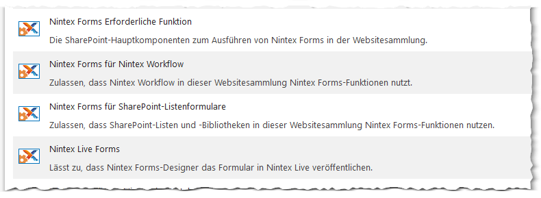 Nintex Forms 2013 - Websitesammlungsfeatures - Site collection features - SharePoint 2013