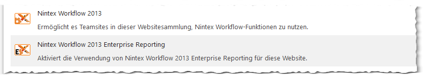 Nintex Workflow 2013 - Websitefeatures verwalten - Manage site features - Nintex Workflow 2013 - Nintex Workflow 2013 Enterprise Reporting - SharePoint 2013
