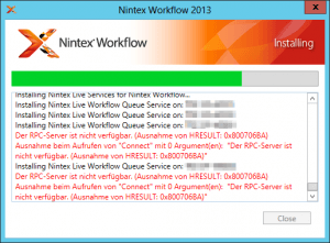 The RPC server is unavailable - Installing Nintex Live Workflow Queue Service on SP-Server - Der RPC-Server ist nicht verfügbar - Ausnahme von HRESULT 0x800706BA - Error