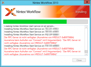 The RPC server is unavailable - Installing Nintex Workflow Start Service on SP-Server - Der RPC-Server ist nicht verfügbar - Ausnahme von HRESULT 0x800706BA - Error
