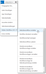 Zahnrad - Nintex Workflow 2013 Button - Websiteworkflow erstellen Button - Menü - SharePoint 2013