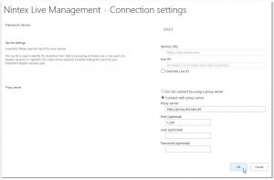 CA - ZA - Nintex Live Management - Connection settings - Connect with proxy server - SharePoint 2013