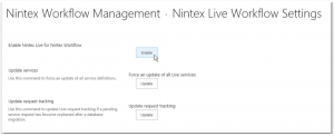 CA - ZA - Nintex Workflow Management - Live Settings - Nintex Live Workflow Settings - Enable Nintex Live for Nintex Workflow - Enable Button - SharePoint 2013