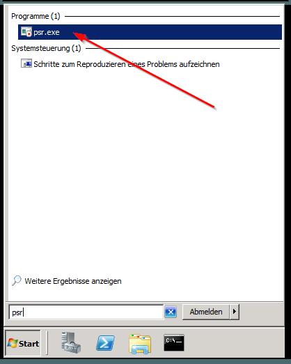 Windows 7 - Server 2008R2 - Startmenü - Suche - PSR