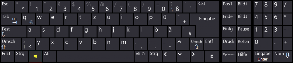 Windows - Bildschirmtastatur - Tastenkombination - Win - Windows Taste