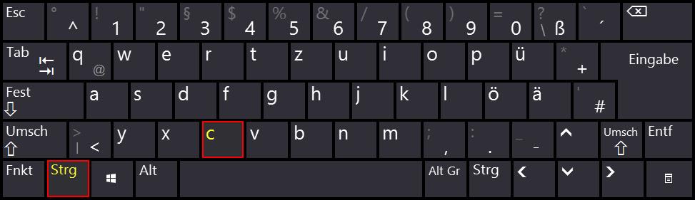 Windows - Bildschirmtastatur - klein - Tastenkombination - strg - c - Copy - Kopieren