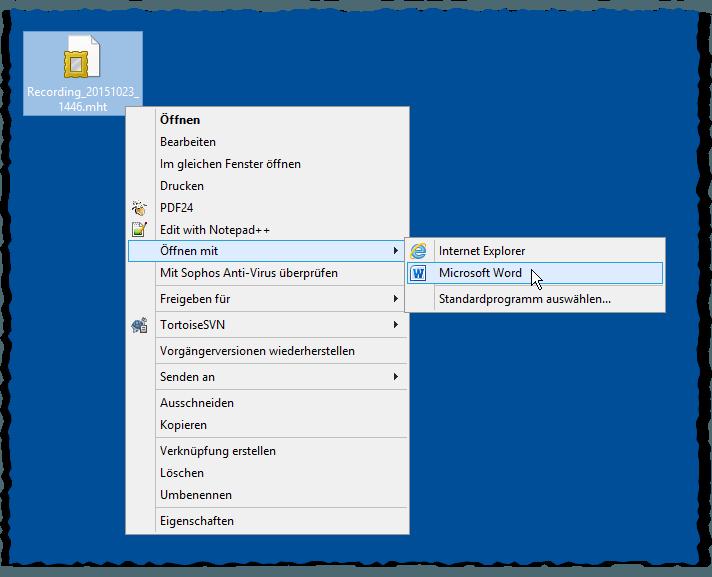 Windows Problem Step Recorder - PSR - Problemaufzeichnung - Schrittaufzeichnung - Öffnen mit Microsoft Word
