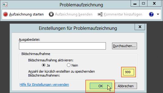 Windows Problem Step Recorder - PSR - Problemaufzeichnung - Schrittaufzeichnung - Einstellungen - Anzahl der kürzlich erstellten zu speichernden Bildschirmaufnahmen