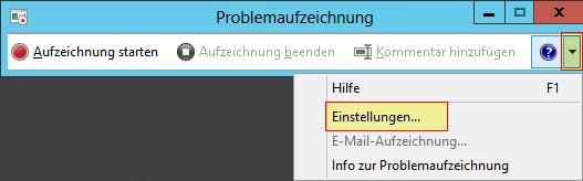 Windows Problem Step Recorder - PSR - Problemaufzeichnung - Schrittaufzeichnung - Pfeil - Einstellungen - Button