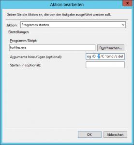 Windows Aufgabenplanung - Task Scheduler - Reiter Aktionen - Aktion bearbeiten - IIS Log Cleanup - C-inetpub-logs-LogFiles nach X Tagen bereinigen