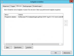 Windows Aufgabenplanung - Task Scheduler - Reiter Aktionen - IIS Log Cleanup - C-inetpub-logs-LogFiles nach X Tagen bereinigen
