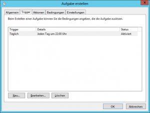 Windows Aufgabenplanung - Task Scheduler - Reiter Trigger - IIS Log Cleanup - C-inetpub-logs-LogFiles nach X Tagen bereinigen