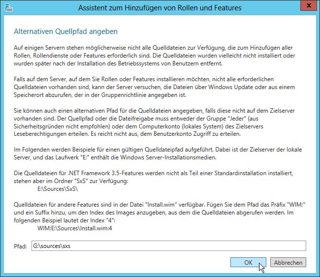 Assistent zum Hinzufügen von Rollen und Features - Specify an alternate source path - Alternativen Quellpfad angeben