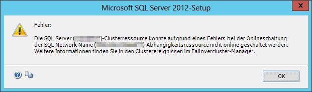 ID: 1194 - FailoverClustering - Cluster network name resource SQL Network Name failed to create its associated computer object in domain - Die SQL Server Clusterressource konnte aufgrund eines Fehlers bei der Onlineschaltung der SQL Network Name-Abhängigkeitsressource nicht online geschaltet werden
