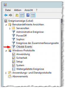 Windows Ereignisanzeige - Windows Event-Viewer - Benutzerdefinierte Ansichten - Chkdsk Events