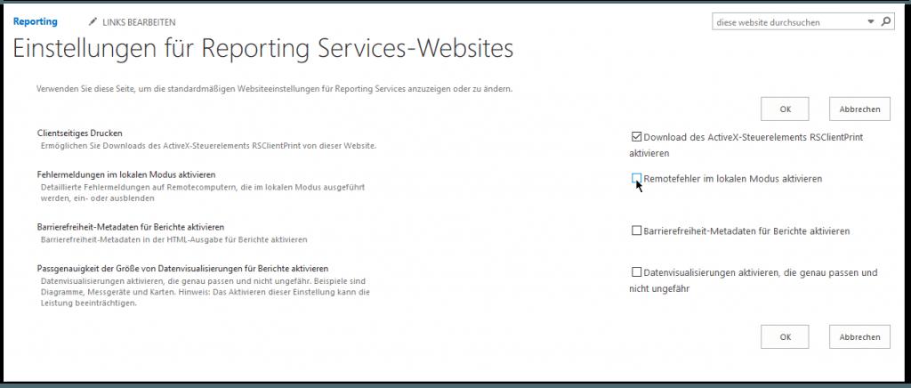 Remotefehler aktivieren - Einstellungen für Reporting Services-Websites - Remotefehler im lokalen Modus aktivieren