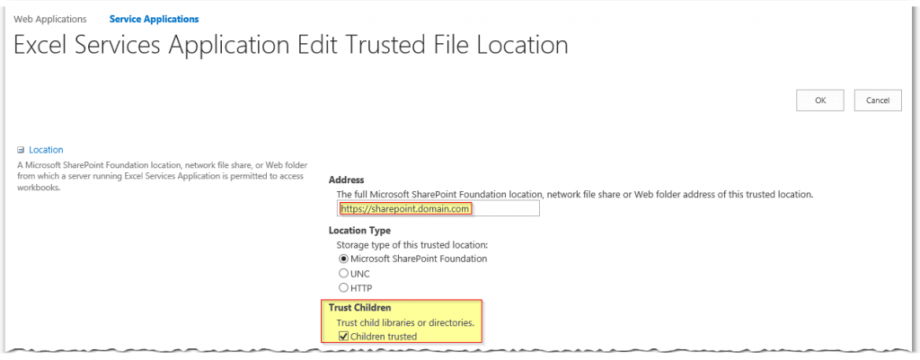 Excel Services Application Edit Trusted File Locations - Add Trusted File Location - Trust Children - SharePoint2013