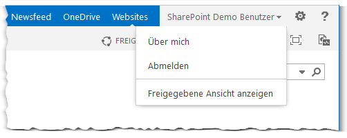 User Name Menu - Benutzer Name Menü - Freigegebene Ansicht anzeigen - Über mich - Abmelden - PageView=Personal - PageView=Shared - SharePoint 2013