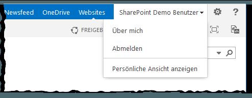 User Name Menu - Benutzer Name Menü - Persönliche Ansicht anzeigen - Über mich - Abmelden - PageView=Personal - PageView=Shared - SharePoint 2013
