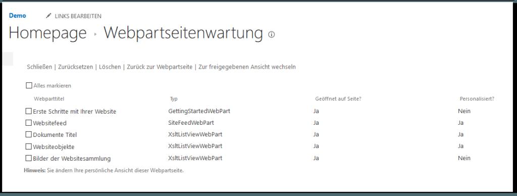 Webpartseitenwartung - SEITE - Eigenschaften bearbeiten - Webpartseite in Wartungsansicht öffnen - WebPart Liste - SharePoint 2013