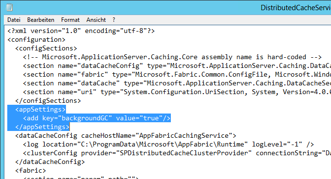 AppFabric Update - DistributedCacheService.exe.config - neu - Background Garbage collection fix