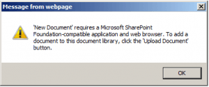 SSRS - Reporting Services - 'New Document' requires a Microsoft SharePoint Foundation-compatible application and web browser - SharePoint 2013