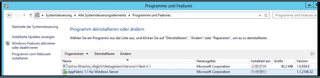 Systemsteuerung - Programme und Features - AppFabric 1.1 für Windows Server - 1.1.2106.32
