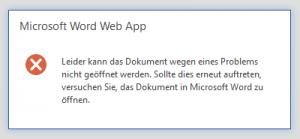 WOPI: Could not deserialize file metadata - OWA - Office Web Apps - WAC - Microsoft Word Web App - Leider kann das Dokument wegen eines Problems nicht geöffnet werden - Error