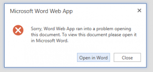 OWA - Office Web Apps - WAC - Microsoft Word Web App - Sorry, Word Web App ran into a problem opening this document - Error