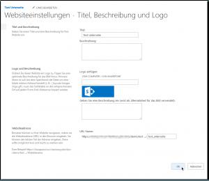 Encountered unexpected character - Websiteeinstellungen - Titel, Beschreibung und Logo - Websiteadresse - URL-Name - Test_Unterseite - SharePoint 2013