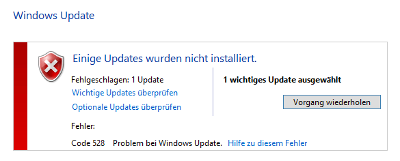 Windows Update Fehler Code 528