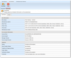 DocAve - Maintenance Action - Verify database backup data - Finished with Exception - Error - Fehler