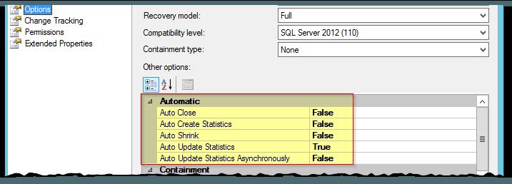 SQL Server - model - DB - Datenbank Eigenschaften - Options - Automatisch - Statistiken - Statistics - Auto Shrink - Automatisch verkleinern - EN