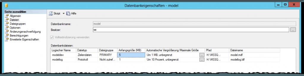 SQL Server - model DB - Datenbankeigenschaften - model - Dateien - Anfanggröße - Automatische Vergrößerung - Maximale Größe - Standard