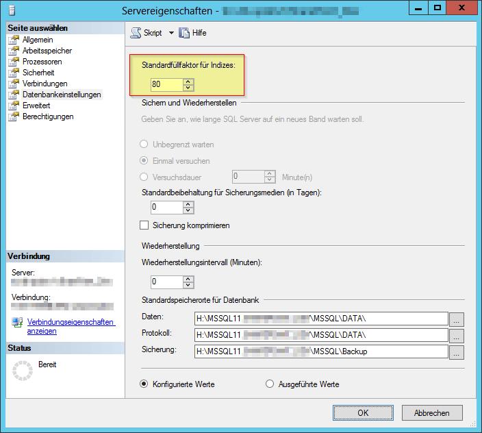 SQL Server Empfehlungen für SharePoint - SQL Servereigenschaften - Datenbankeinstellungen - Standardfüllfaktor für Indizes - Server Properties - Database Settings - Default Index fill factor - 80 - SharePoint.png