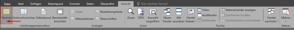 """Reiter """"Ansicht"""" - """"Umbruchvorschau"""" auf """"Normal""""e Ansicht umschalten - Excel 2016 Ribbon"""
