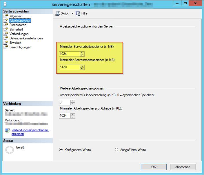 SQL Servereigenschaften - Arbeitsspeicheroptionen für den Server - Minimaler Maximaler Serverarbeitsspeicher in MB