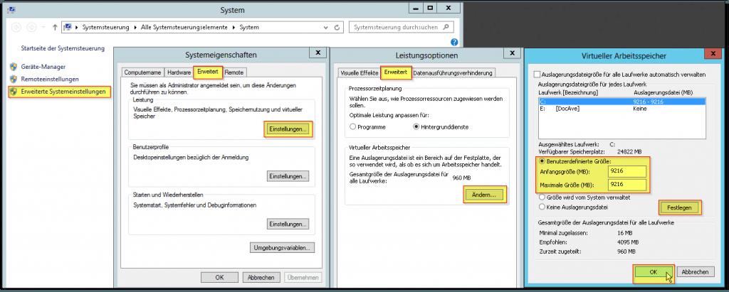 System - Erweiterte Systemeinstellungen - Reiter Erweitert - Leistung Einstellungen - Reiter Erweitert - Ändern - Auslagerungsdatei - Virtueller Arbeitsspeicher - RAMx1,5