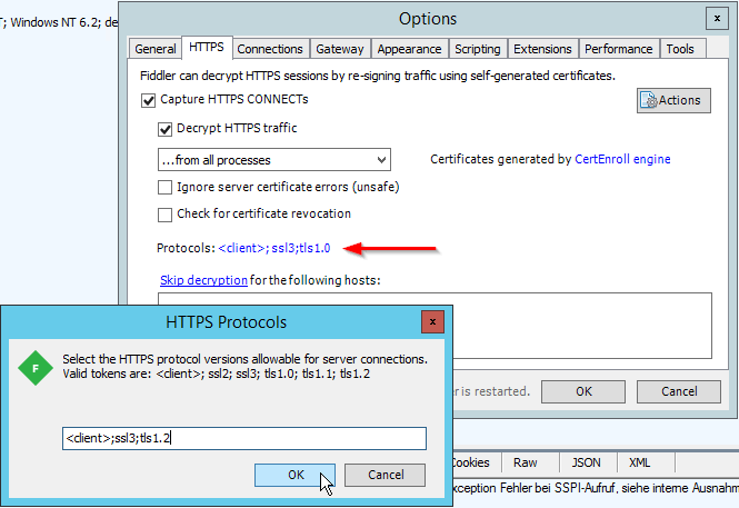 Fiddler - HTTPS Protocols - tls1.0 to tls1.2