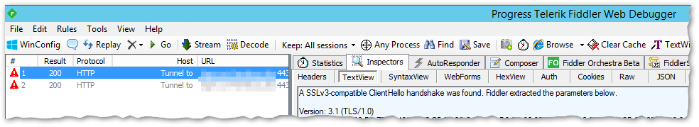 Fiddler - SSL Version 3.1 - TLS 1.0