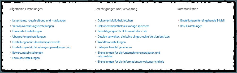 Wiki Bibliothek migrieren - Bibliothekeinstellungen - Allgemeine Einstellungen - Berechtigungen und Verwaltung - Kommunikation - Dokumentenbibliothek - SharePoint 2013