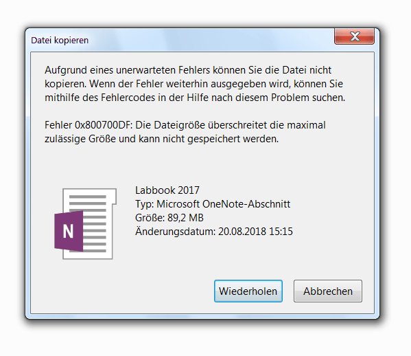 Fehler 0x800700DF: Die Dateigröße überschreitet die maximal zulässige Größe und kann nicht gespeichert werden