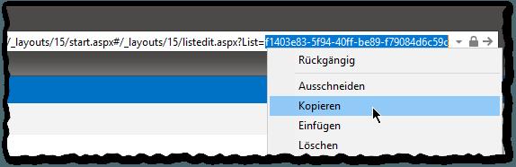 Wiki Bibliothek migrieren - Internet-Explorer - Bibliothekeinstellungen - List-ID kopieren - Kontextmenü - Liste - SharePoint 2013