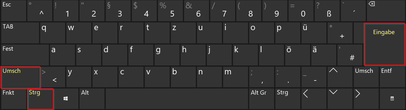 Windows - Bildschirmtastatur - klein - Tastenkombination - shift - strg - Enter - Als Administrator ausführen