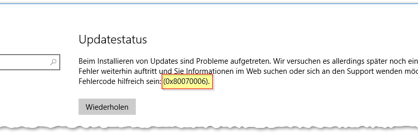 Windows Update Error Code 0x80070006 – Fix