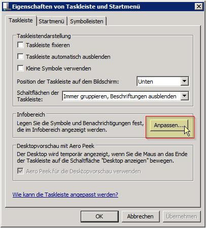 Eigenschaften von Taskleiste und Startmenü - Infobereich - Anpassen... Button - Windows 7 - Server 2008 R2