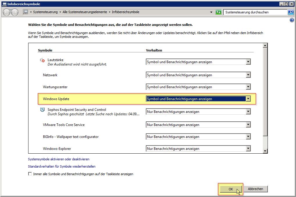 Infobereich - Anpassen... Button - Systemsteuerung - Infobereichsymbole - Windows Update - Symbol und Benachrichtigungen anzeigen - Windows 7 - Server 2008 R2